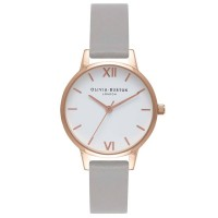 Olivia Burton White Dial Rose Gold Plated Grey Leather Strap Watch OB16MDW05