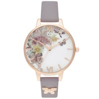 Olivia Burton Enchanted Garden Demi Dial Grey Lilac And Rose Gold Embellished Leather Strap Watch OB16EG129