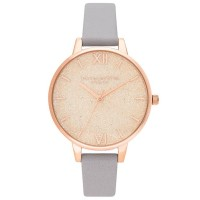 Olivia Burton Glitter Dial Pale Rose Gold and Grey Lilac Leather Strap Watch OB16GD45
