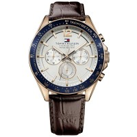 Tommy Hilfiger Luke Rose Gold Plated Silver Chronograph Dial Brown Leather Strap Watch 1791118