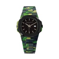 KAMAWATCH Limited Edition Fix Bope Black and Green Camo Plastic Bracelet Watch KWPF29