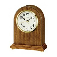 Seiko Clocks Light Brown Oak Wooden Mantel Clock QXE031B