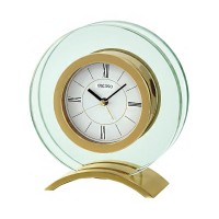 Seiko Clocks Gold Glass Mantel Clock QHE057G