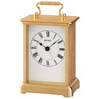 Seiko Clocks Gold Metal Mantel Clock QHE093G