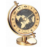Seiko Clocks Gold Globe World Time Mantel Clock QHG106G
