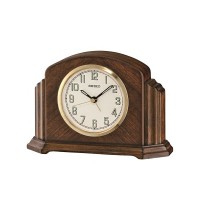 Seiko Clocks Brown Wooden Mantel Clock QXE043B