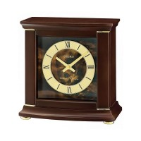 Seiko Clocks Dark Brown Alder Wooden Mantel Clock QXJ030B