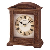 Seiko Clocks Brown Oak Wooden Mantel Clock QXG123B