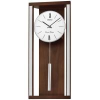 Seiko Clocks Dual Chime Pendulum Brown Wall Clock QXH068B