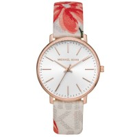 Michael Kors Ladies Pyper Rose Gold Plated White Crystal Set Dial Floral Print Leather Strap Watch MK2895
