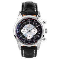 Pre-Owned Breitling Transocean Automatic Black Leather Strap Watch AB0510U4BB62 760P
