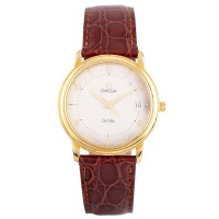 Pre-Owned Omega Devile 18ct Gold Leather Strap Watch 4406107
