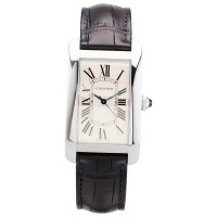 Pre-Owned Cartier Mens Tank Americaine Automatic Black Leather Strap Watch WSTA0018