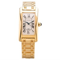 Pre-Owned Cartier Ladies Tank Americaine Midsize 18ct Yellow Gold Automatic Bracelet Watch 1725