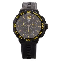 Pre-Owned TAG Heuer Mens Formula 1 Chronograph Black & Yellow Rubber Strap Watch CAU111E.FT6024