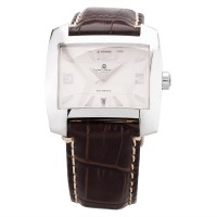 Pre-Owned Baume and Mercier Mens Square Hampton Spirit Brown Leather Strap Watch MOA08254