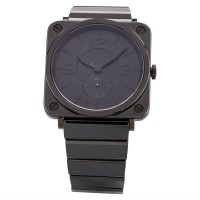 Pre-Owned Bell & Ross Mens Limited Edition Black Phantom Ceramic Bracelet Watch BRS-BLC-PH/SCE
