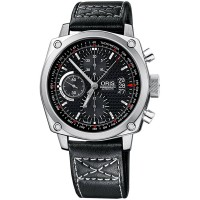 Pre-Owned Oris BC4 Chronograph Black Leather Strap Watch 01 674 7616 4154-07 33 20 40