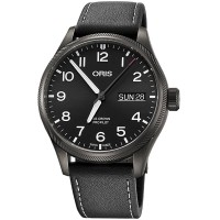 Pre-Owned Oris Big Crown ProPilot Big Day Date Grey Leather Strap Watch 01 752 7698 4264-07 5 22 15GFC