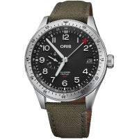 Pre-Owned Oris Big Crown ProPilot Timer GMT Green Fabric Strap Watch 01 748 7756 4064-07 3 22 02LC