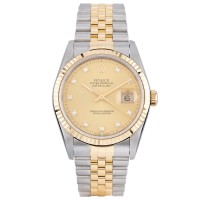 Pre-Owned Rolex Mens Two Tone Datejust Bracelet Watch 16233