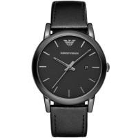 Emporio Armani Mens Luigi Classic Black Leather Strap Watch AR1732