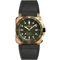 Bell & Ross BR03-92 Diver Green Bronze Limited Edition Black Leather Strap Watch BR0392-D-G-BR/SCA