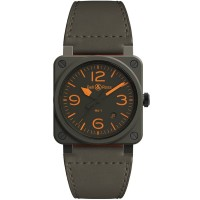 Bell & Ross BR 03-92 MA-1 Limited Edition Ceramic Khaki Leather Strap Watch BR0392-KAO-CE/SCA