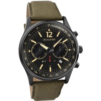 Accurist Mens Chronograph Green Fabric Strap Watch MS612B