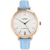 Lorus Ladies Soft Pale Blue Leather Strap Dress Watch RG264LX5