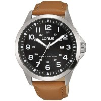 Lorus Mens Black Sunray Dial Brown Leather Strap Watch RH933GX9