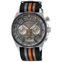 Seiko Mens Chronograph Black & Orange Nylon Strap Watch SSB403P1