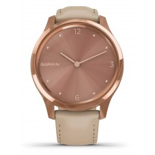 Garmin Vivomove Luxe Rose Gold Sand Leather Strap Watch 010-02241-01