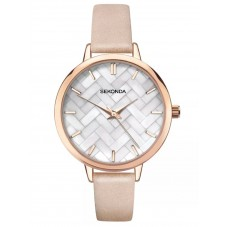 Sekonda Ladies Editions Rose Gold Plated Mother Of Pearl Dial Pink Leather Strap Watch 2826