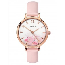 Sekonda Ladies Editions White Floral Dial Pink Leather Strap Watch 2625
