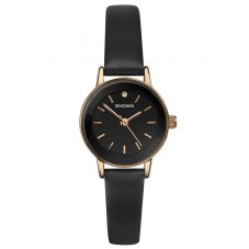 Sekonda Ladies Rose Gold Plated Black Stone Set Dial Brown Leather Strap Watch 2787