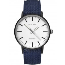 Sekonda Mens Casual White Dial Blue and Grey Reversible Nylon Strap Watch 1495
