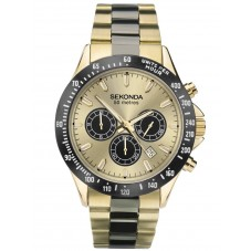 Sekonda Mens Classic Gold Dual-Time Dial Gold Plated Bracelet Watch 1650