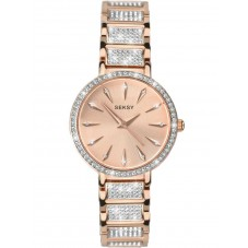 Sekonda Ladies Seksy Rose Gold Plated Stone Set Bracelet Watch 2372
