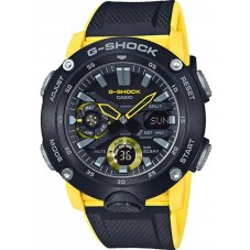 Casio G-Shock Classic Carbon Dual Display Yellow Plastic Strap Watch GA-2000-1A9ER