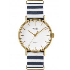 Timex Weekender Ladies Gold Plated Fabric Strap Watch TW2P91900