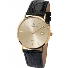 Accurist Mens 9ct Gold Champagne Dial Black Leather Strap Watch 7802