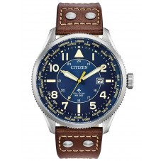 Citizen Mens Promaster Nighthawk Blue Dial Brown Leather Strap Watch BX1010-11L