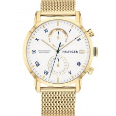 Tommy Hilfiger Kane Gold Plated White Day Date Dial Mesh Strap Watch 1710403
