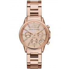 Armani Exchange Ladies Rose Gold Plated Watch AX4326
