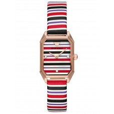 Emporio Armani Ladies Rose Gold Plated Mother Of Pearl Octagonal Dial Stripe Leather Strap Watch AR11301
