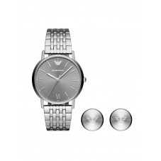 Emporio Armani Mens Kappa Grey Dial Stainless Steel Bracelet Watch and Cufflinks Set  AR80030
