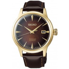 Seiko Mens Presage Cocktail Limited Edition Automatic Gold Plated Brown Strap Watch SRPD36J1