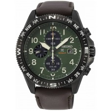 Seiko Mens Prospex Solar Stainless Steel Green Chronograph Dial Brown Leather Strap Watch SSC739P1
