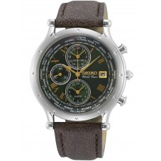 Seiko Mens World Time Special Edition Green Chronograph Dial Dark Brown Leather Strap Watch SPL057P1